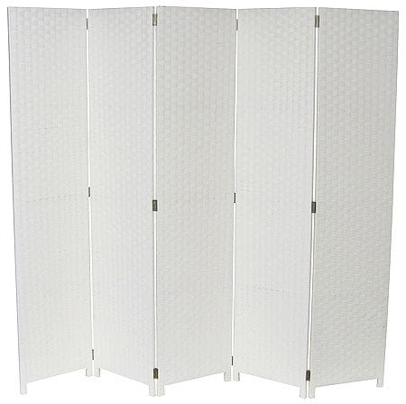 White 5 Fold Room Divider 200cm wide
