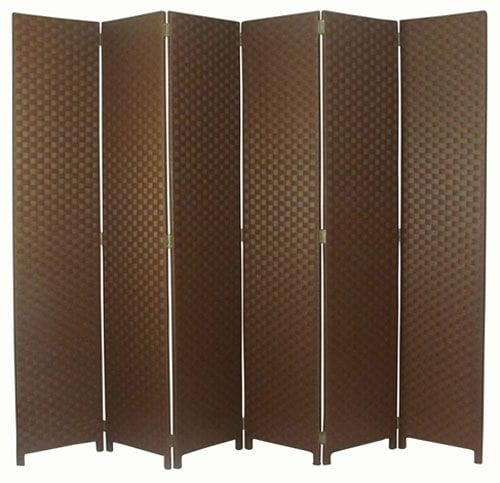 Brown 6 Fold Room Divider 240cm wide