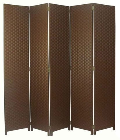 Brown 5 Fold Room Divider 200cm wide