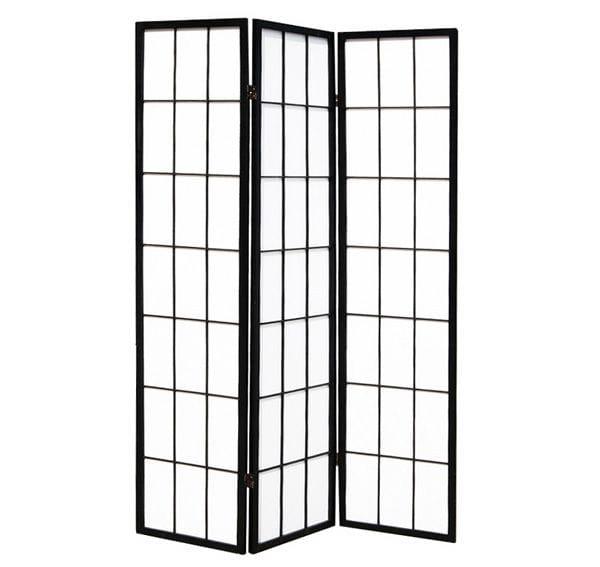 Black Shoji 3 Fold Room Divider 132cm wide