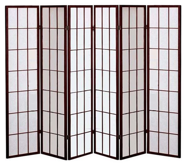 Brown Shoji 6 Fold Room Divider 264cm wide