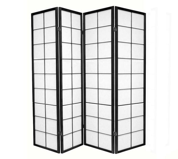 Black Zen 4 Fold Room Divider 176cm wide