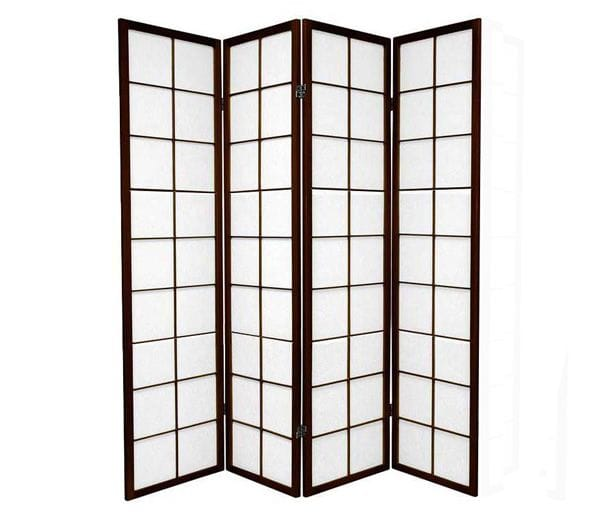 Brown Zen 4 Fold Room Divider 176cm wide
