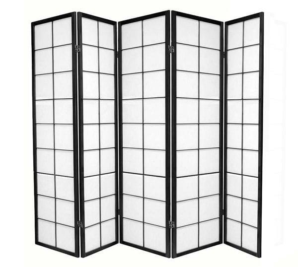Black Zen 5 Fold Room Divider 220cm wide