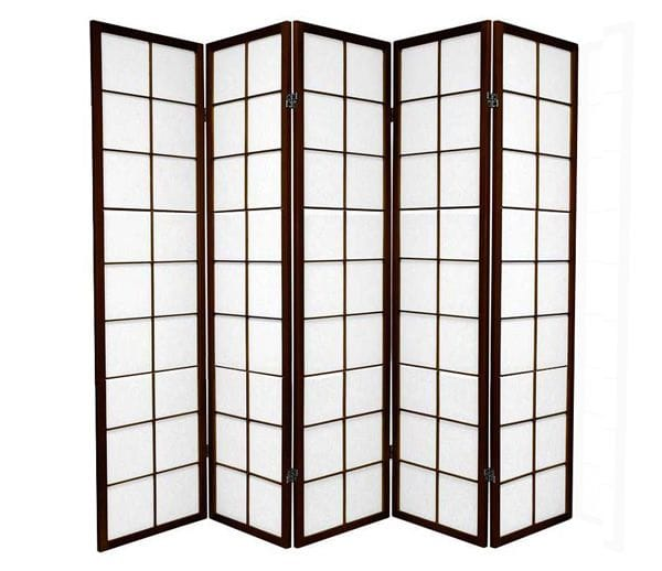 Brown Zen 5 Fold Room Divider 220cm wide