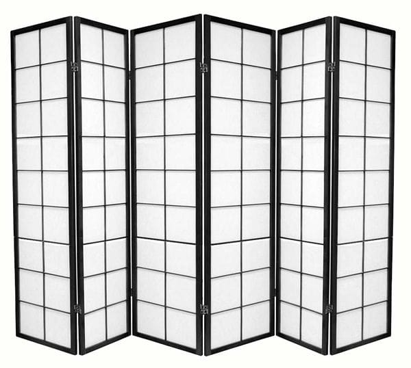 Black Zen 6 Fold Room Divider 264cm wide