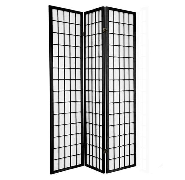 Black Window 3 Fold Room Divider 132cm wide