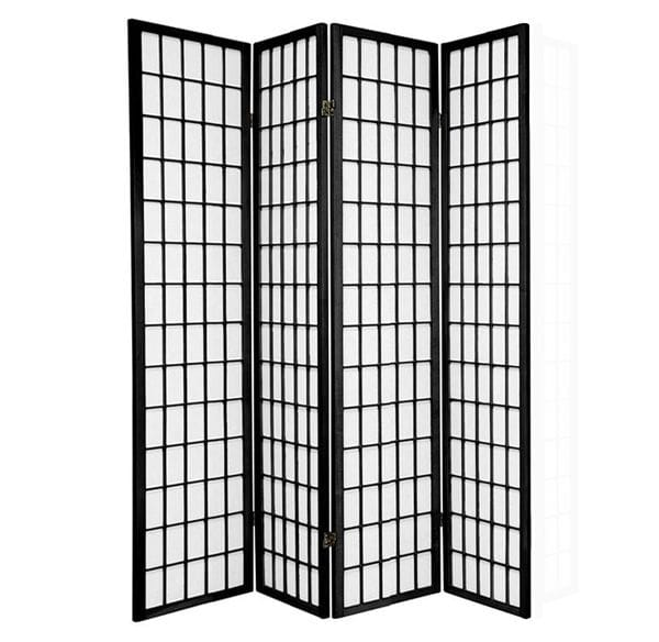Black Window 4 Fold Room Divider 176cm wide