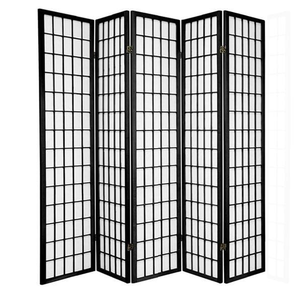 Black Window 5 Fold Room Divider 220cm wide
