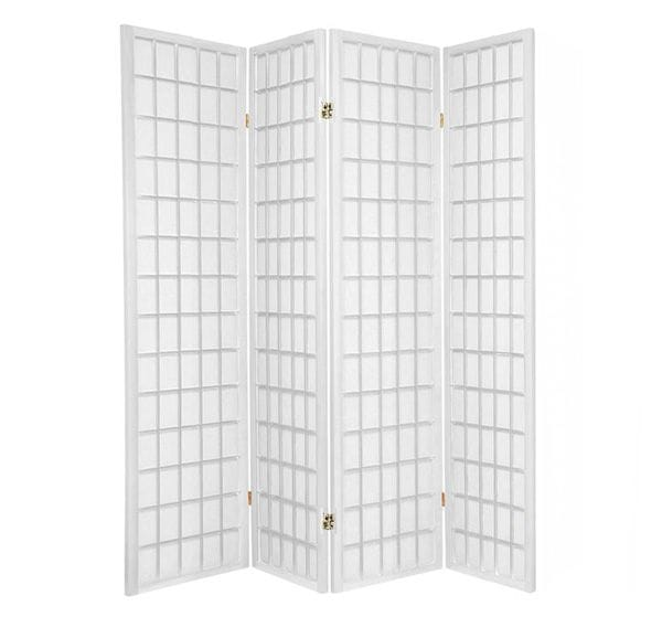 White Window 4 Fold Room Divider 176cm wide