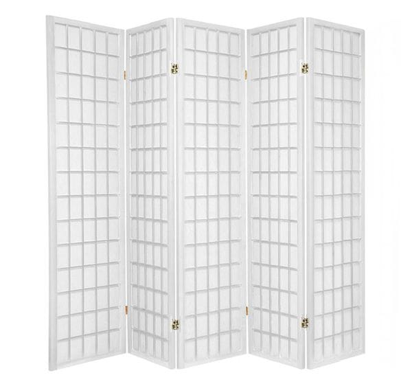 White Window 5 Fold Room Divider 220cm wide