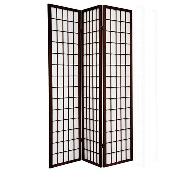 Brown Window 3 Fold Room Divider 132cm wide