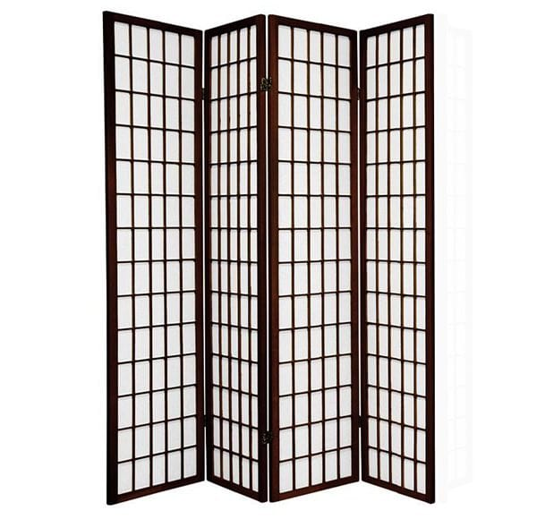Brown Window 4 Fold Room Divider 176cm wide