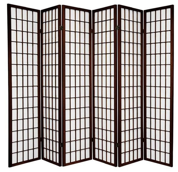 Brown Window 6 Fold Room Divider 264cm wide