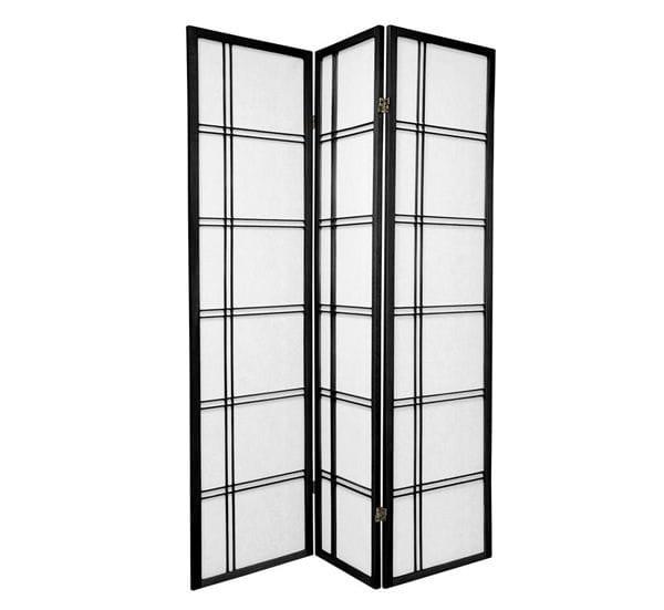 Black Cross 3 Fold Room Divider 132cm wide