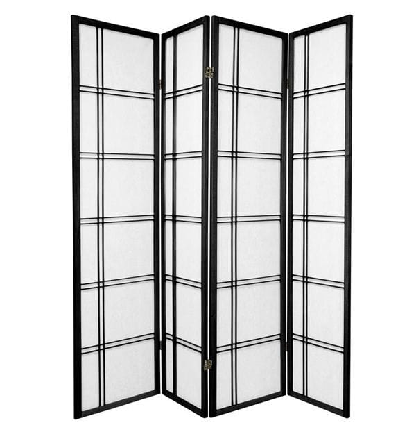 Black Cross 4 Fold Room Divider 176cm wide