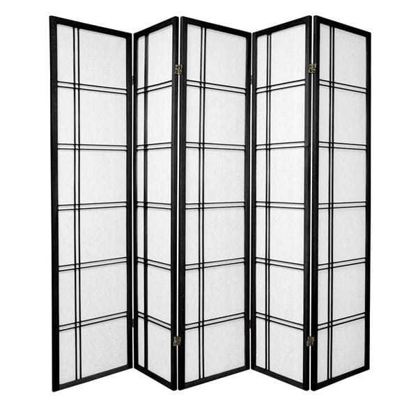 Black Cross 5 Fold Room Divider 220cm wide