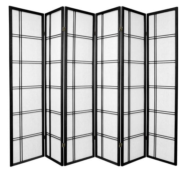 Black Cross 6 Fold Room Divider 264cm wide