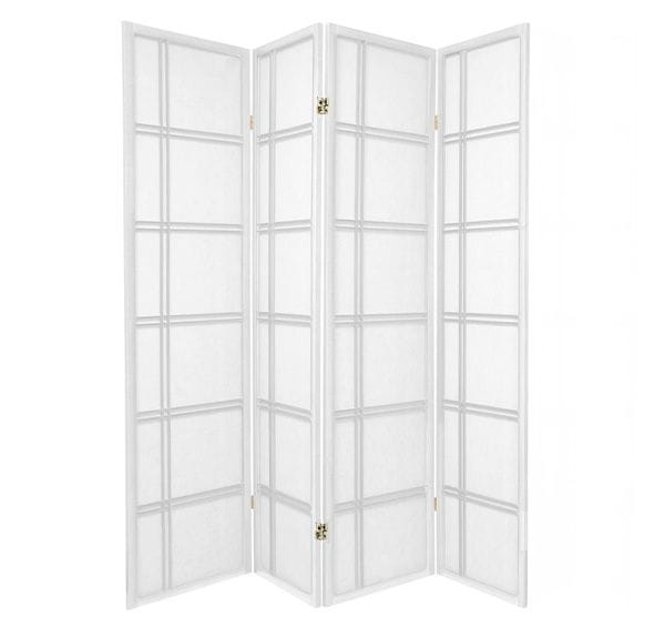 White Cross 4 Fold Room Divider 176cm wide