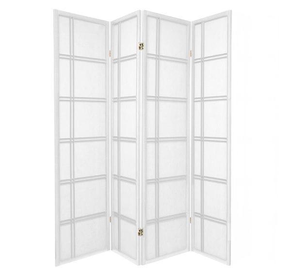 White Cross 4 Fold Room Divider 176cm wide