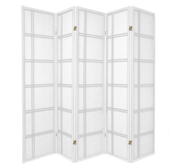White Cross 5 Fold Room Divider 220cm wide