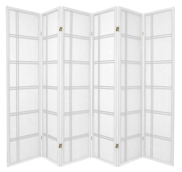 White Cross 6 Fold Room Divider 264cm wide