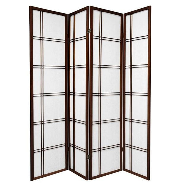 Brown Cross 4 Fold Room Divider 176cm wide