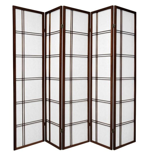 Brown Cross 5 Fold Room Divider 220cm wide