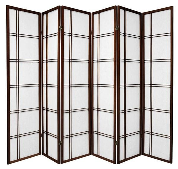 Brown Cross 6 Fold Room Divider 264cm wide