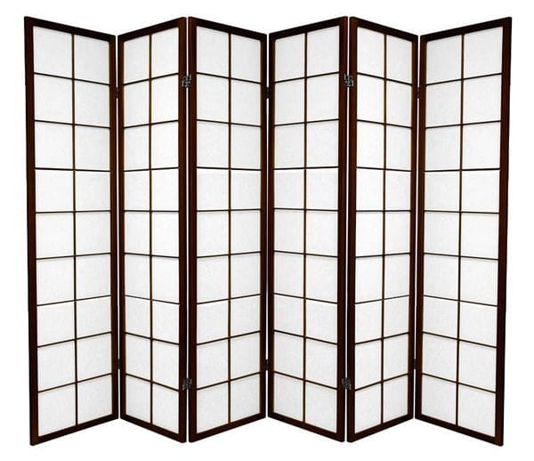 Brown Zen 6 Fold Room Divider 264cm wide