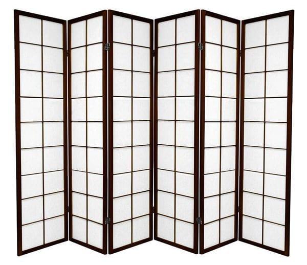 Brown Zen 6 Fold Room Divider 264cm wide