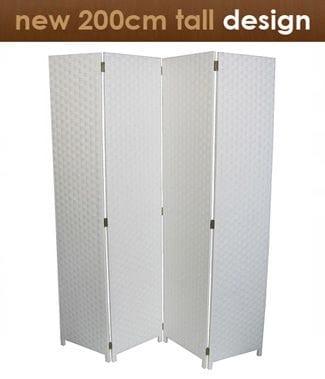 White 4 Fold Room Divider 160cm wide