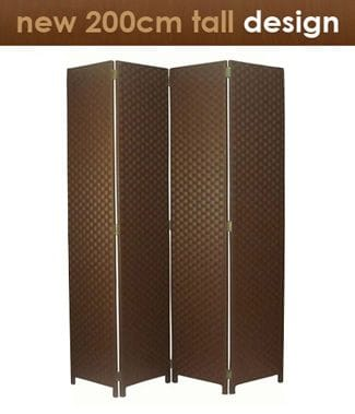Brown 4 Fold Room Divider 160cm wide