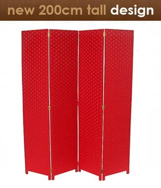 Red 4 Fold Room Divider 160cm wide