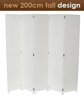 White 5 Fold Room Divider 200cm wide