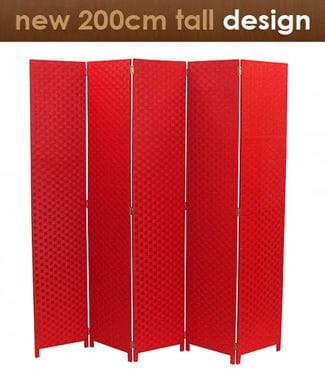 Red 5 Fold Room Divider 200cm wide