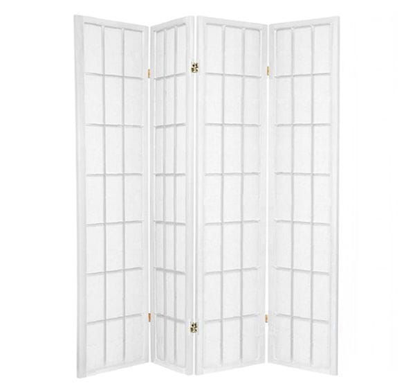 White Shoji 4 Fold Room Divider 176cm wide