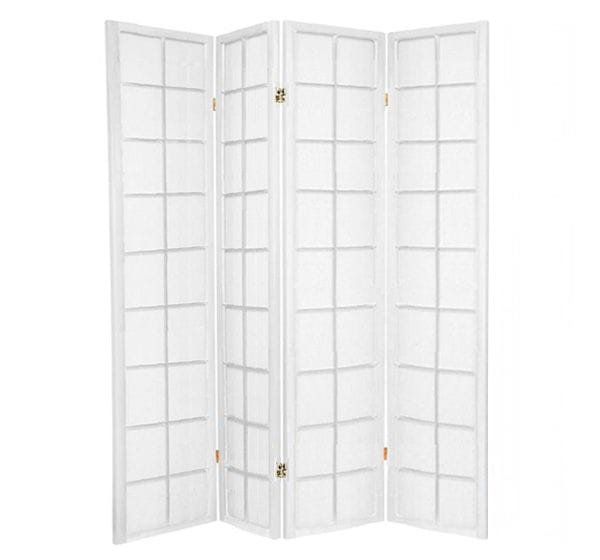 White Zen 4 Fold Room Divider 176cm wide