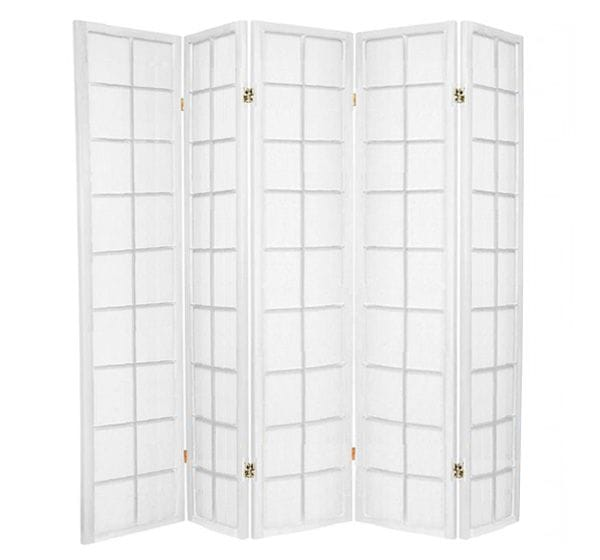 White Zen 5 Fold Room Divider 220cm wide