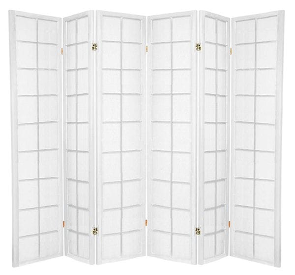 White Zen 6 Fold Room Divider 264cm wide