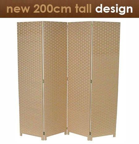 Beige 4 Fold Room Divider 160cm wide