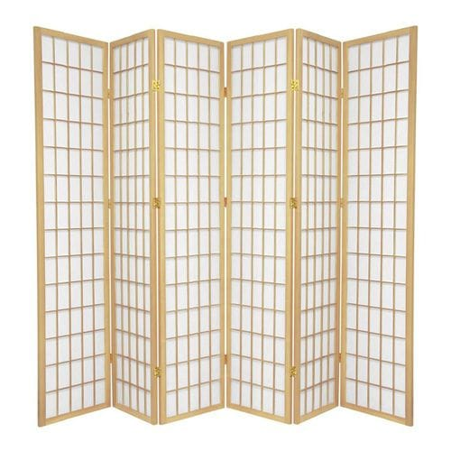 Natural Window 6 Fold Room Divider 264cm wide