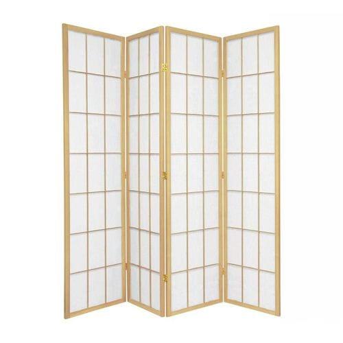 Natural Shoji 4 Fold Room Divider 176cm wide