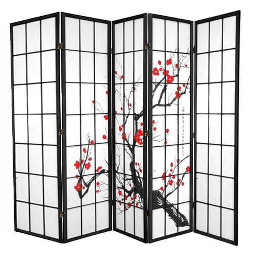Black Cherry Blossom 5 Fold Room Divider 220cm wide