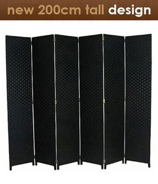 Black 6 Fold Room Divider 240cm wide