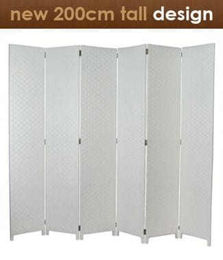 White 6 Fold Room Divider 240cm wide