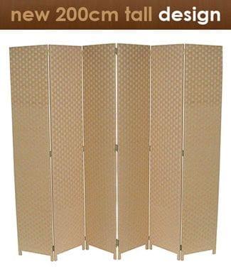 Beige 6 Fold Room Divider 240cm wide