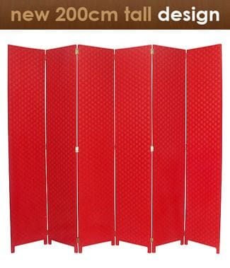 Red 6 Fold Room Divider 240cm wide