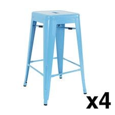 Blue Modern Metal Bar Stools Set of 4