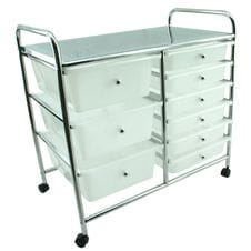 White 9 Drawer Trolley on Wheels